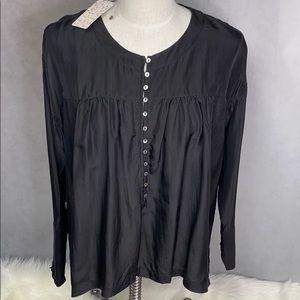 New Free People 100% Silk Long Sleeve Button shirt